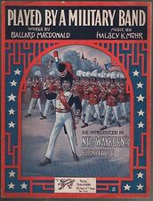 Played by A Military Band 1915 Large Format Sheet Music