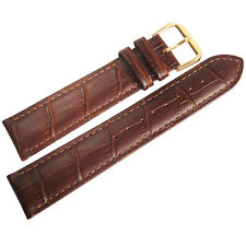 22mm Mens Fluco Imola Brown Crocodile-Grain Leather GOLD Buckle Watch Band Strap