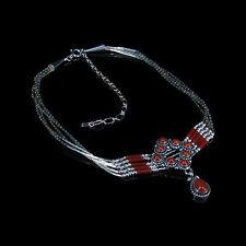 5 Strand 925 Liquid Sterling Silver Genuine Orange Red Coral Heshei Necklace