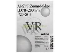 Manuale cartaceo originale per Nikon AF-S Nikkor 70/200mm f2,8 G IF VR