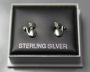 Sterling Silver 925 Stud Earrings  CUTE CAT DESIGN STUDS BUTTERFLY BACKS  ST 201