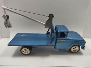 Vintage Rare 1960-61 Tonka Power Boom Truck Loader Pressed Steel-Blue White Wall