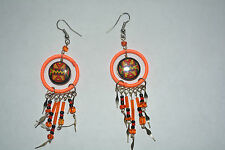 1 x pair ceramic  inca design earrings handmade fluorescent orange alpaca silver