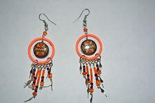 1 X Paire Céramique Inca Design Boucles d'oreilles fait main orange fluorescent Alpaca argent