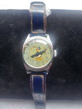 Vintage 1948 Ingersoll Donald Duck 20th Birthday Manual Wind Watch W/Orig. Band