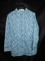 Chelsea Studio 1X White Blue Floral Shirt Long Sleeve Cotton Blouse 1XL Woman