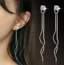 Korean Trendy 925 Sterling Silver Women Crystal Tassel Drop Dangle Long Earrings