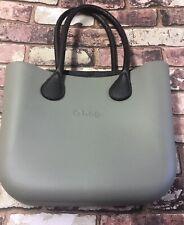 Obag Handbag Shoulder Bag Grey with Brown Leather Handles & Mock Croc Lining VGC