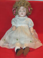 Vintage Reliable composition & cloth body doll w/ tin eyes & Shirley Temple wig