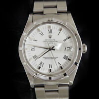 Men Rolex Date Stainless Steel Watch Quickset Oyster Band White Roman Dial 15010