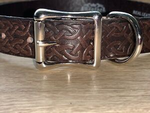 Celtic Tribal Dog Collar Brown Real Leather Vintage Hand Made 1 Wide 25mm G8