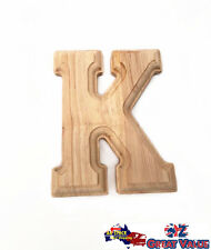"Small Oak Wood Alphabet Letter ""K"" Natural Brown Uppercase Home Decor Art Craft"