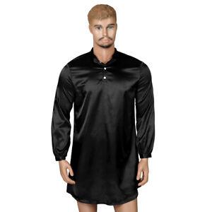 Mens Satin Silk Pajamas Nightwear Long Sleeve Nightshirt Pullover Sleep Tees XXL
