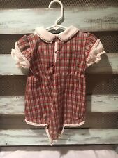 Girls Vintage Dress - Size 2t - Plaid - White/Green/Red