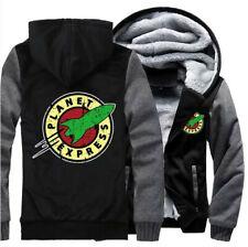 Planet Express Print Hoodie Zipper Sweatshirt Warm Hooded Coat Fleece Jacket Top