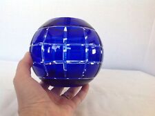 Bohemian Czech Cobalt Blue Cut to Clear Glass Rose Bowl Vase