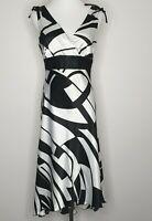 Laura K Black White Empire Cocktail Evening Dress / Size 10