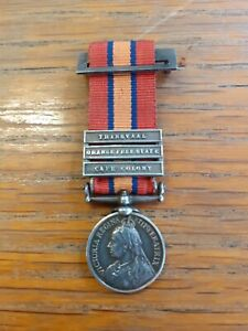 VICTORIAN CONTEMPORARY MINIATURE BOER WAR QUEENS SOUTH AFRICA MEDAL 3 CLASPS...
