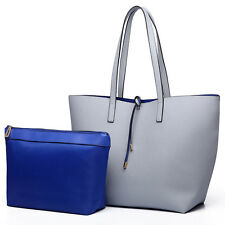 Ladies PU Leather Reversible Contrast  Tote Shoulder  Bag Two In One Grey