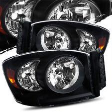 For 06-08 Dodge Ram 1500/06-09 Ram 2500/3500 Black Crystal Headlights Left/Right