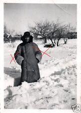 9928/ Originalfoto 6x9cm, Soldat Pelzmantel, Schneechaos Rußland