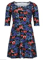 Womens size 16 - 24 stretch Blue floral print swing dress 3/4 sleeves LICK