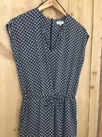 Geometric Navy Blue Mix Patterned Pattern Retro Look All In One Jumpsuit Size 10