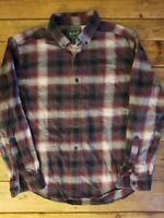Vintage Woolrich Mens Warm Flannel Shirt Blue Plaid 100% Cotton