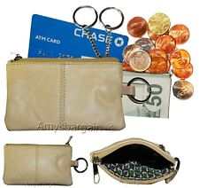 New Leather change purse, Red Zip coin wallet, 2 pocket coin case w/key ring NWT