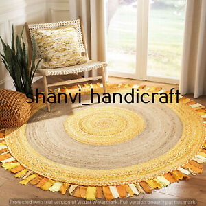 Handmade Round Braided Natural 4x4 Feet Jute Cotton Woven Floor Carpet Area Rugs