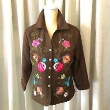 Silkland Embroidered Sequined Silk Jacket Brown Top Lined 3/4 Sleeves Size L