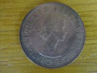 1961 UK Great Britain British One 1 Penny Queen Elizabeth 2 II Coin