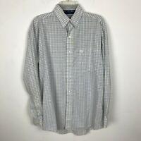 George Strait Cowboy Cut Wrangler Shirt Size M Plaid Blue White Yellow Mens