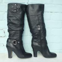 FAITH Leather Boots Size UK 6 Eur 39 Womens Ladies Sexy Pull on Black Boots