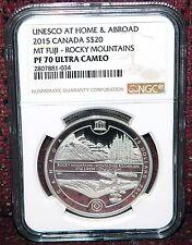 2015 CANADA $20 UNESCO MT FUJI-ROCKY MOUNTAINS SILVER COIN NGC PF 70 ULTRA CAMEO