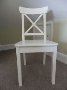 White Ikea Ingolf Dining Chairs