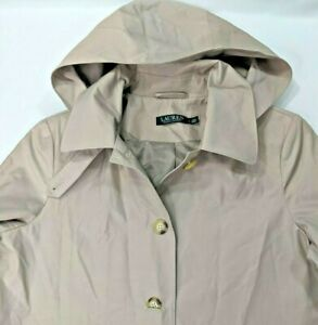 Ralph Lauren Clay Tan Waterproof Hooded Rain Coat Trench Business Womens Large