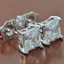 Fashion Woman Mens White Gold Filled Square Crystal Silver Stud Earrings Jewelry