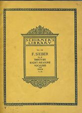 Schirmer'S Lib-F Sieber Op 95, Thirty Six Eight Measure Vocalises For Tenor Vg