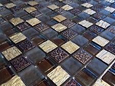 Schiefer Effekt Mosaik Fliesen Glas Naturstein Gold Braun Mocca FTDUR1508