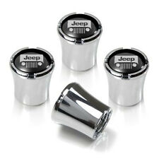 Jeep Grille Logo Silver on Black Tire Valve Stem Caps Set of 4 MADE IN USA