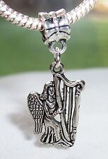 Angel Playing a Harp Christmas Music Dangle Bead for European Charm Bracelets