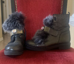Black Shimmer Faux Fur Boots