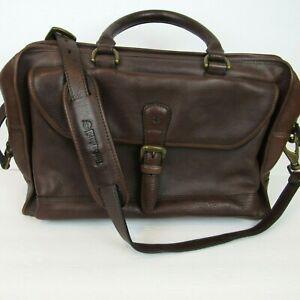 Vintage Timberland Saddle Leather Briefcase Messenger Bag Brown