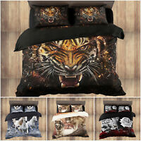 3D Duvet Cover with Fitted Sheet & Pillowcases Animal Print Bedding Set All Size