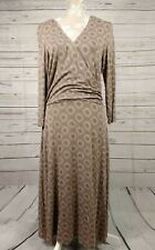Boden Stretch Wrap Dress Mocha Spotty Dotty Geometric Size 14 R