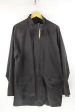Mens THOMAS NASH Waxed OVER COAT Jacket RAIN RESISTANT Medium Zipper Black DN2RL