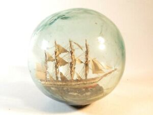 NICE ANTIQUE SHIP IN A GLASS FLOAT