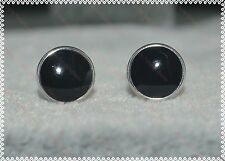 Lovely Ladies/Girls/Men's/Boys 925 Sterling Silver Plated Black Stud Earrings