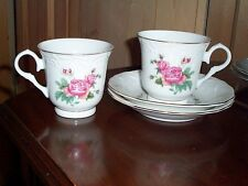 2 Gibson Victorian Rose Cups & Saucers Gold Trim White with Pink Flowers